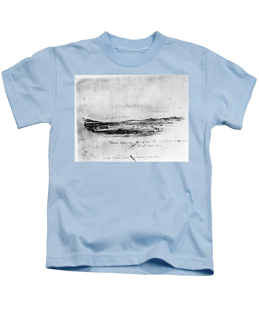1858 Kids T-Shirt featuring the drawing Horse Slaughter Camp 1858 by Granger