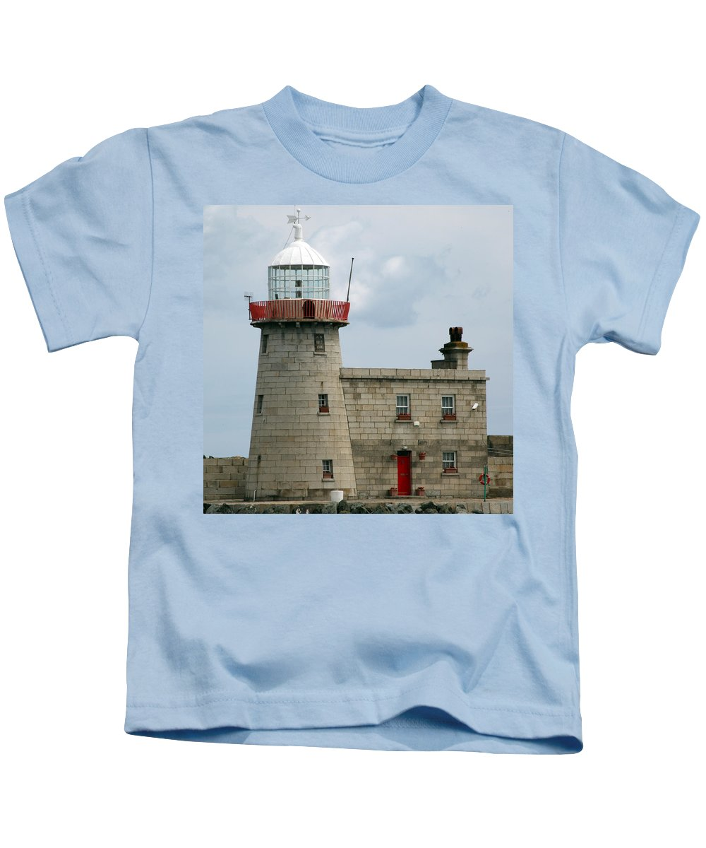 Howth Lighthouse Kids T-Shirt featuring the photograph Howth Lighthouse 0001 by Carol Ann Thomas