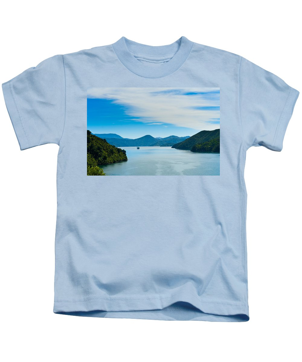 Bay Kids T-Shirt featuring the photograph Incoming Ferry Through A Fjord by U Schade
