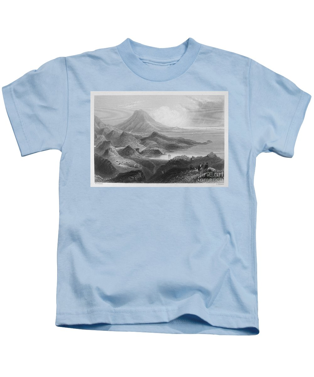 1840 Kids T-Shirt featuring the photograph Ireland: Lough Conn, C1840 by Granger