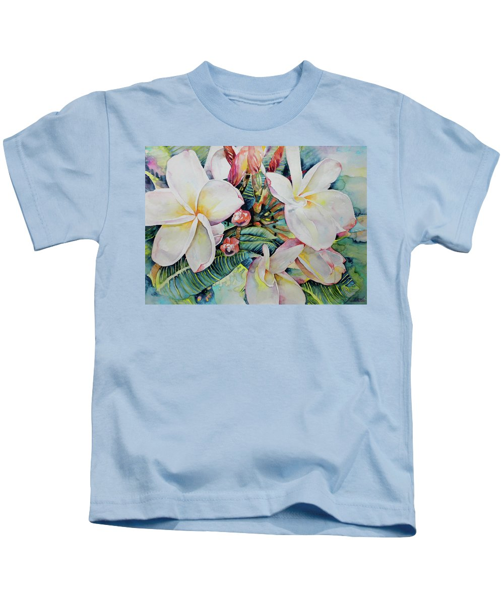 Flowers Kids T-Shirt featuring the painting Islands Beauties by Miki De Goodaboom