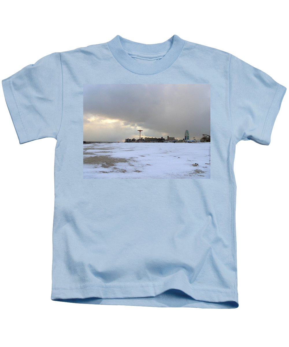 Coney Island Kids T-Shirt featuring the photograph January - Coney Island by Sarah Yuster