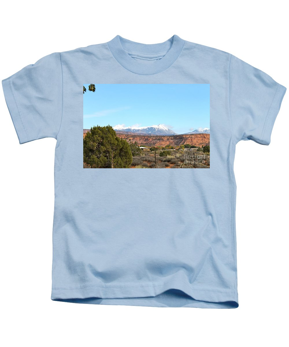 La Sal Kids T-Shirt featuring the photograph La Sal Mountains by Pamela Walrath