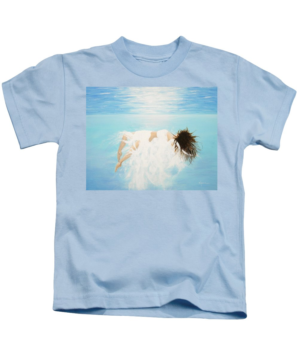 Water Kids T-Shirt featuring the painting Lady Of The Water by Kume Bryant