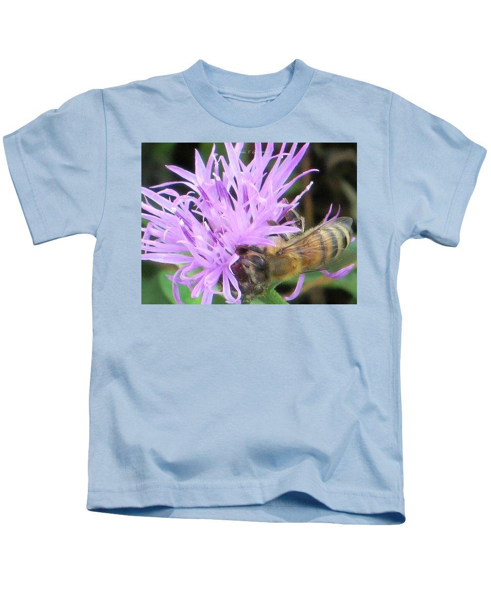 Buzz Buzz Bee Kids T-Shirt featuring the photograph Lavendar affection by Sonali Gangane