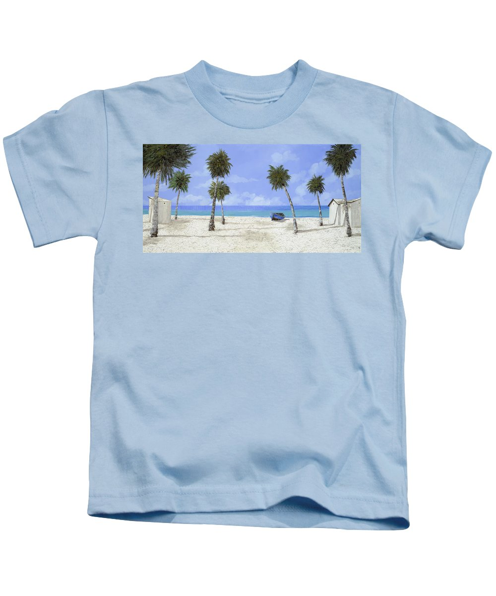 Seascape Kids T-Shirt featuring the painting Le Cabine Bianche by Guido Borelli