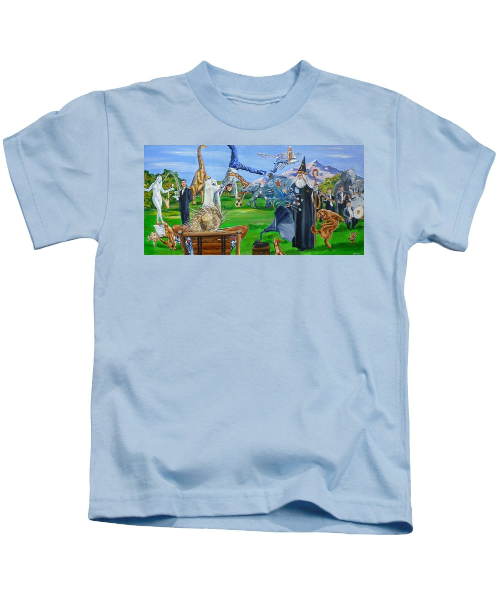 Creedence Clearwater Revival Kids T-Shirt featuring the painting Looking Out My Back Door by Bryan Bustard
