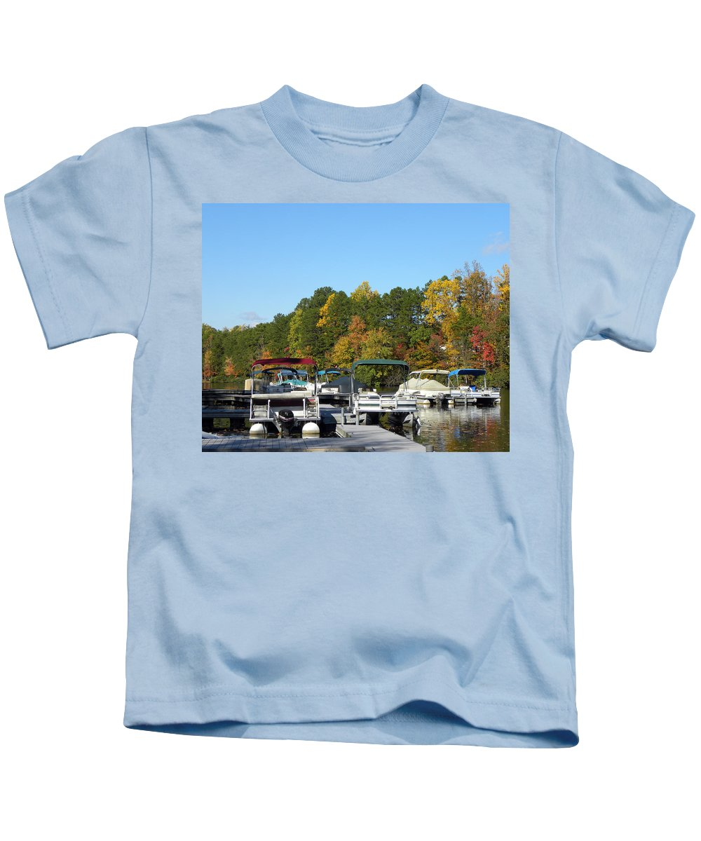 Marina Kids T-Shirt featuring the photograph Marina In Fall by Sandi OReilly
