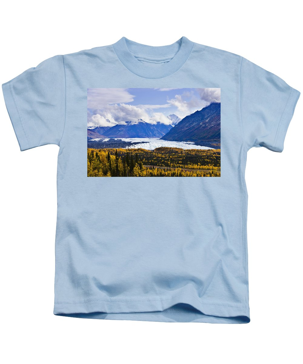 Aerial Image Kids T-Shirt featuring the photograph Matanuska Glacier Along Glenn Highway by Yves Marcoux