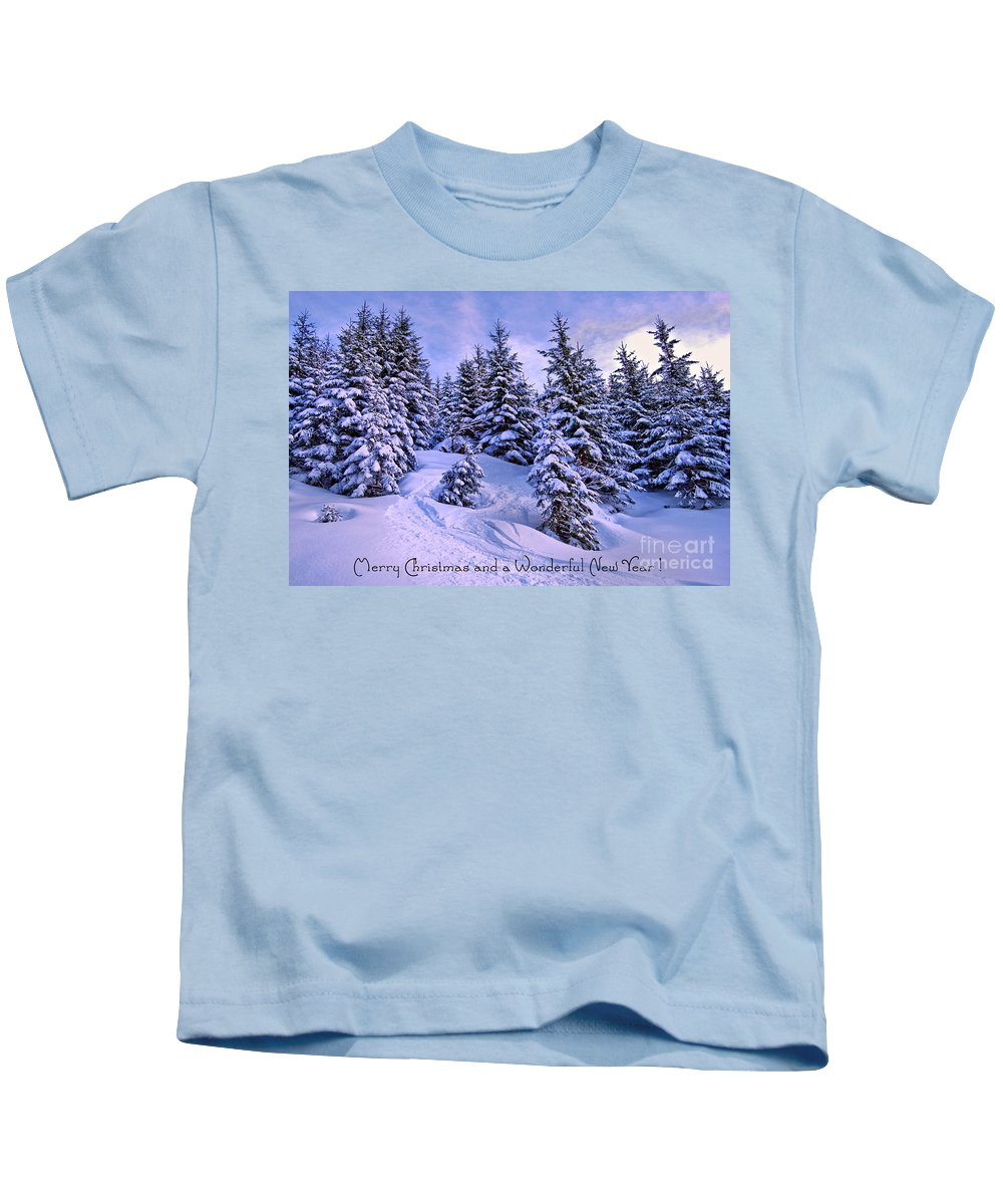 Winter Kids T-Shirt featuring the photograph Merry Christmas And A Wonderful New Year by Sabine Jacobs