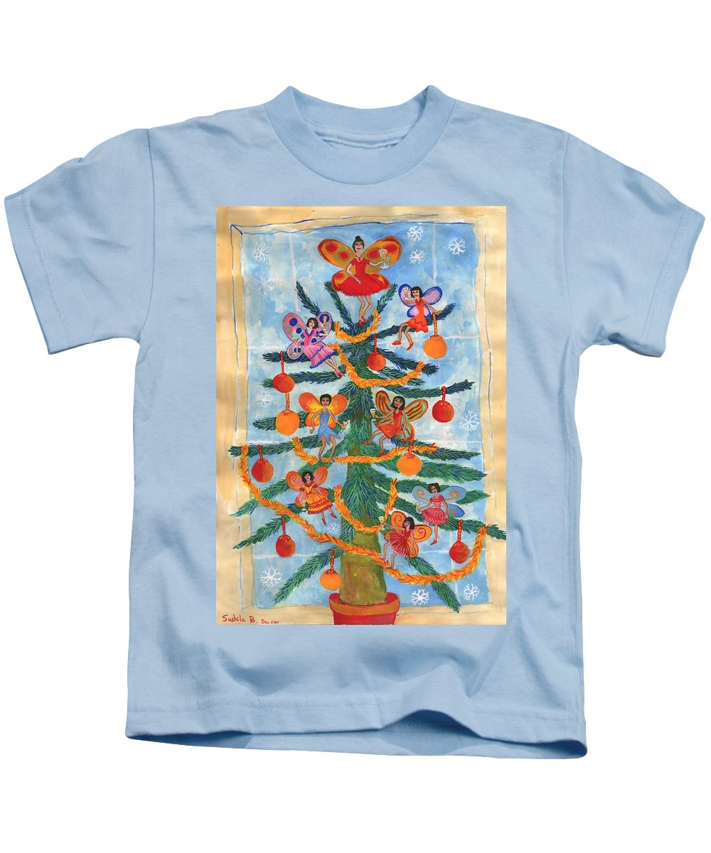Fairy Kids T-Shirt featuring the painting Merry Xmas Tree Fairies by Sushila Burgess