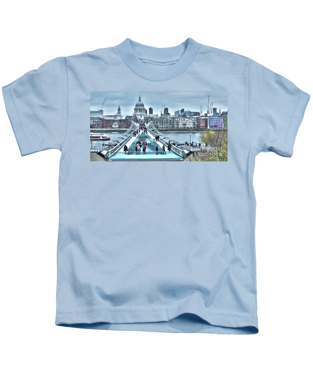 London Kids T-Shirt featuring the photograph Millennium Bridge And St Paul's Cathedral by Jack Schultz