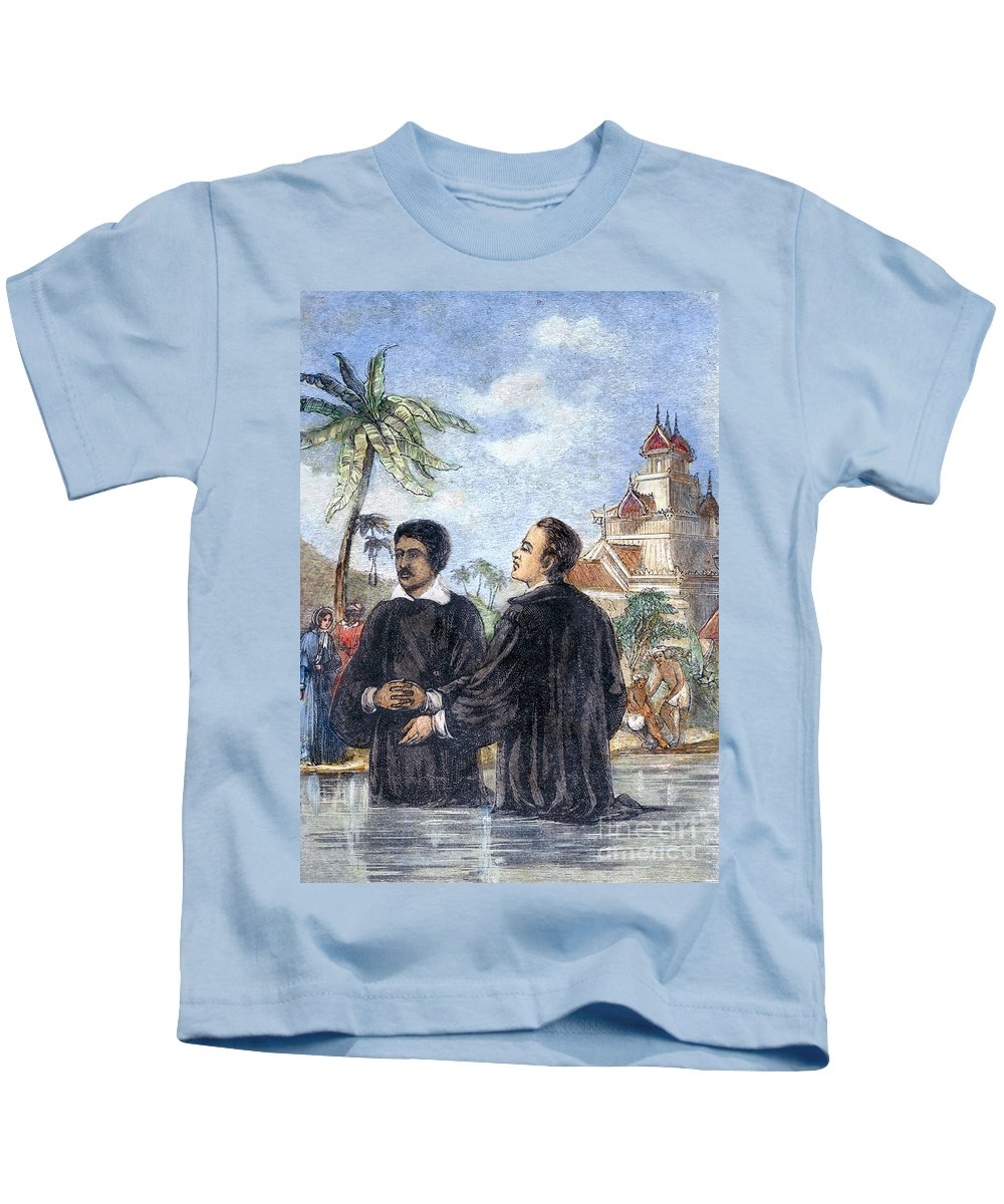 19th Century Kids T-Shirt featuring the photograph Missionaries: Baptism by Granger