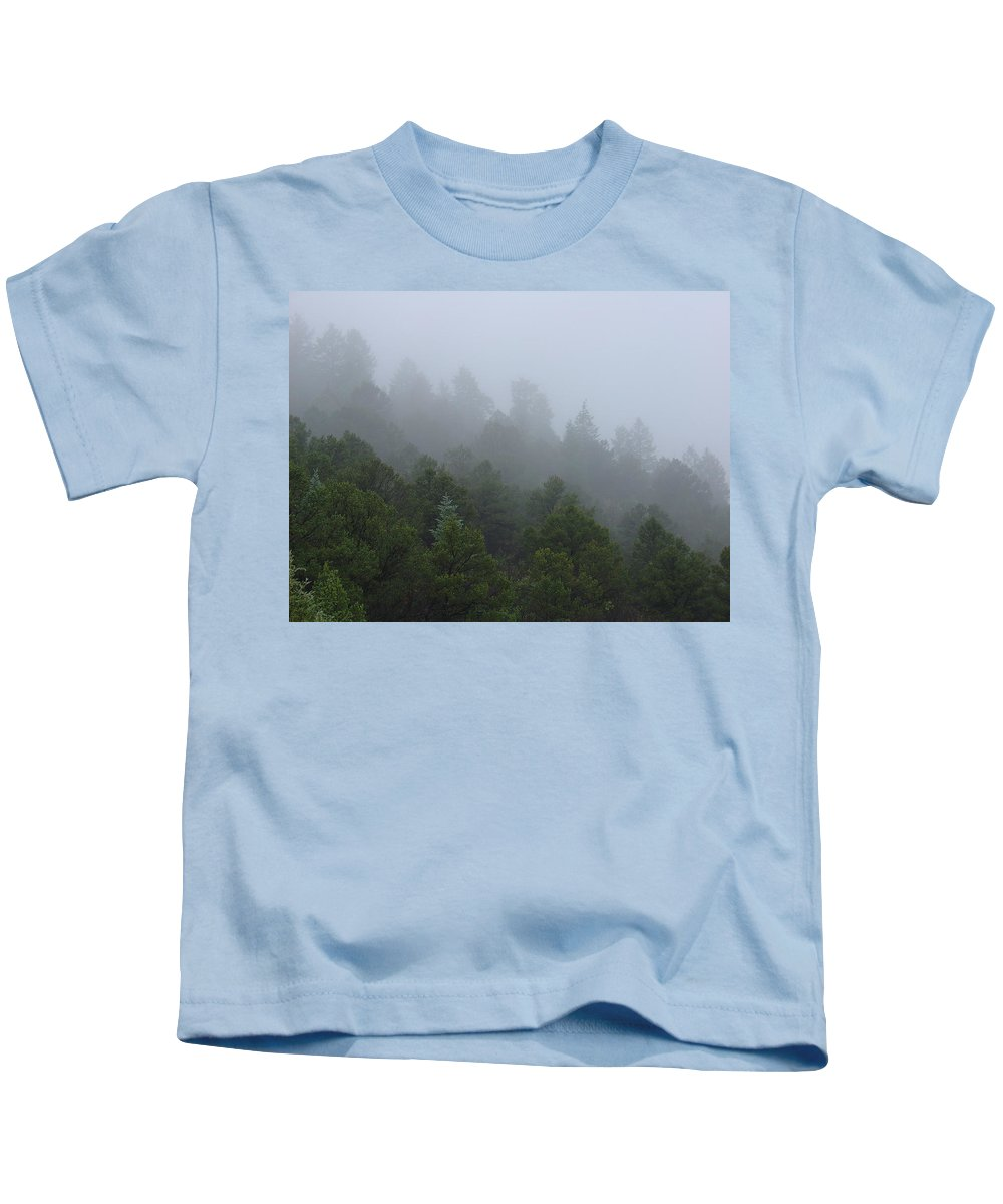 Mountain Kids T-Shirt featuring the photograph Misty Mountain Morning by Charles and Melisa Morrison