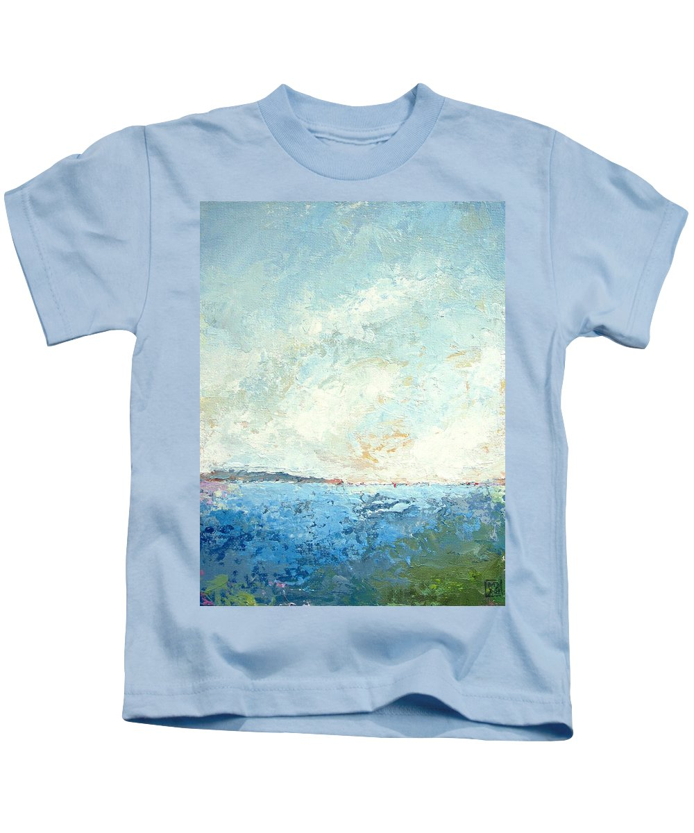 Seascape Kids T-Shirt featuring the painting Monhegan From Pemaquid by Mary Brooking