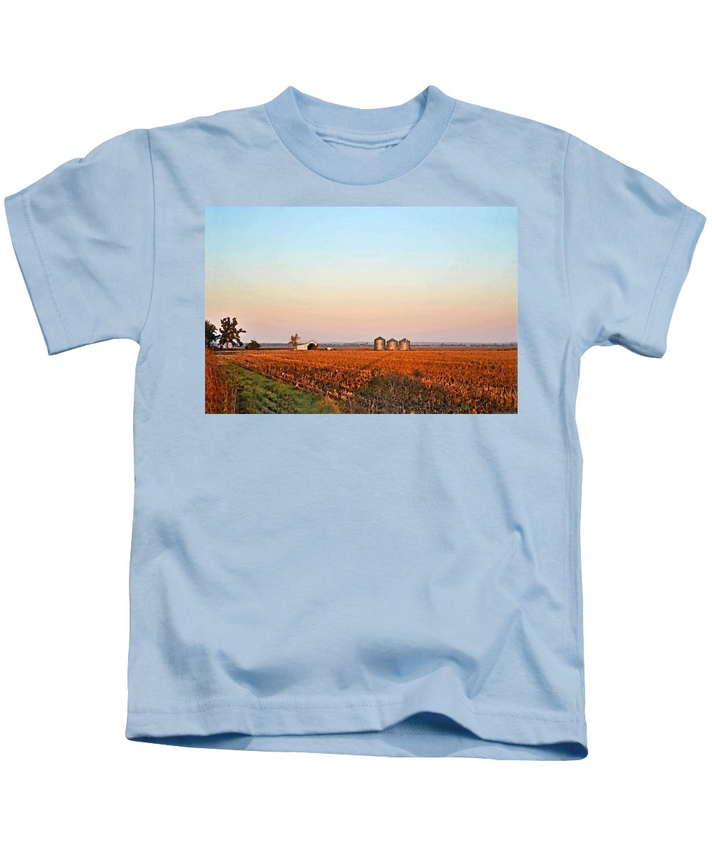 Scenery Kids T-Shirt featuring the photograph Morning In The Heartland Watercolor Photoart II by Debbie Portwood