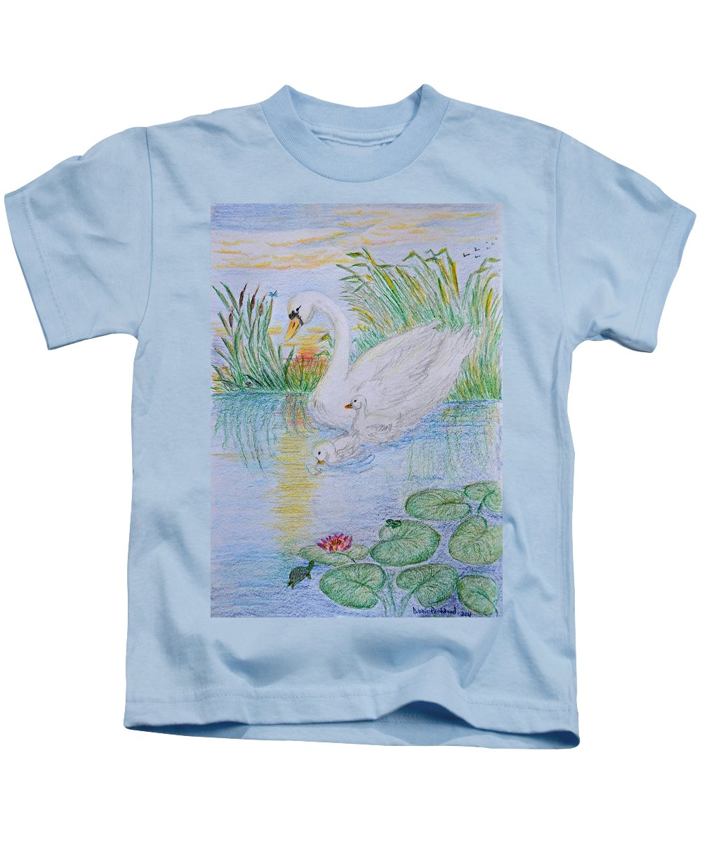 Art Kids T-Shirt featuring the drawing Morning Swim I Original Colored Pencil Drawing by Debbie Portwood