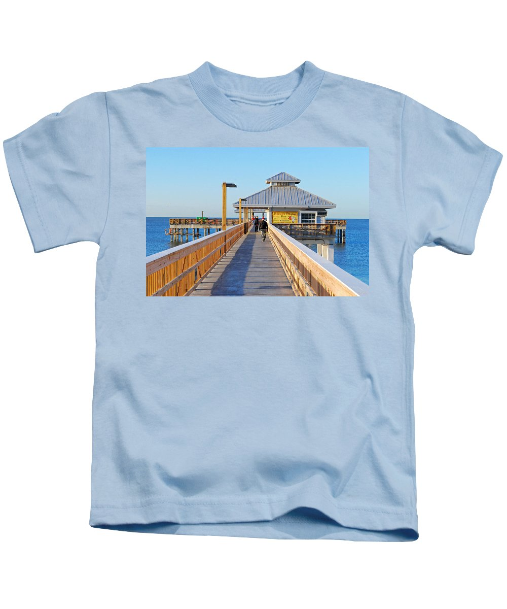 Fort Myers Beach Kids T-Shirt featuring the photograph Morning Walk by Gary Wonning