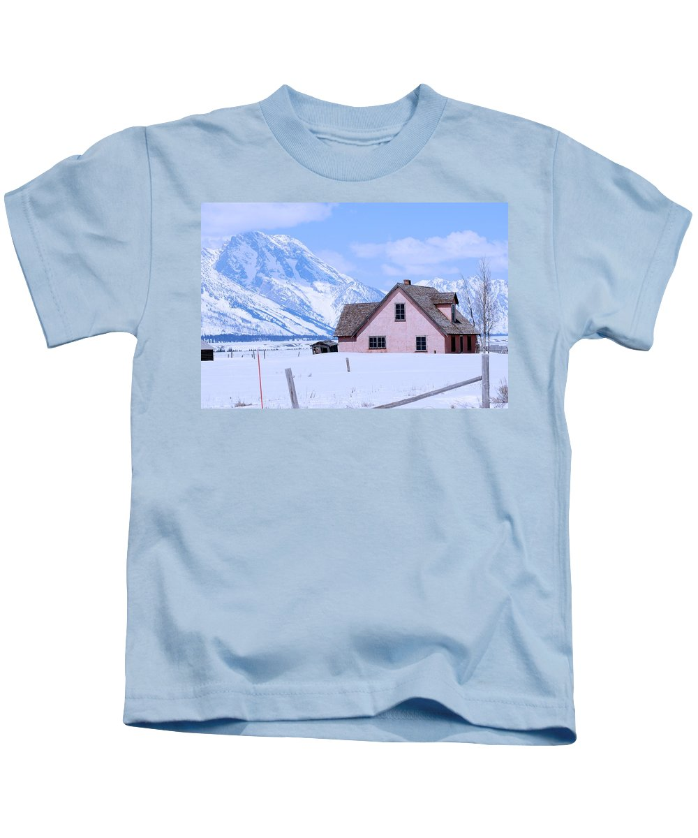 Grand Teton National Park Kids T-Shirt featuring the photograph Moulton House In Winter by Eric Tressler