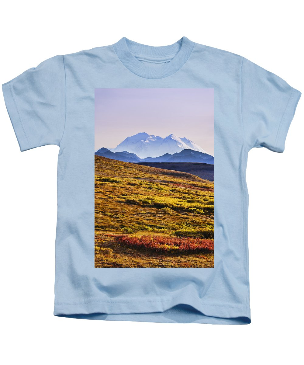 Color Image Kids T-Shirt featuring the photograph Mount Mckinley, Denali National Park by Yves Marcoux