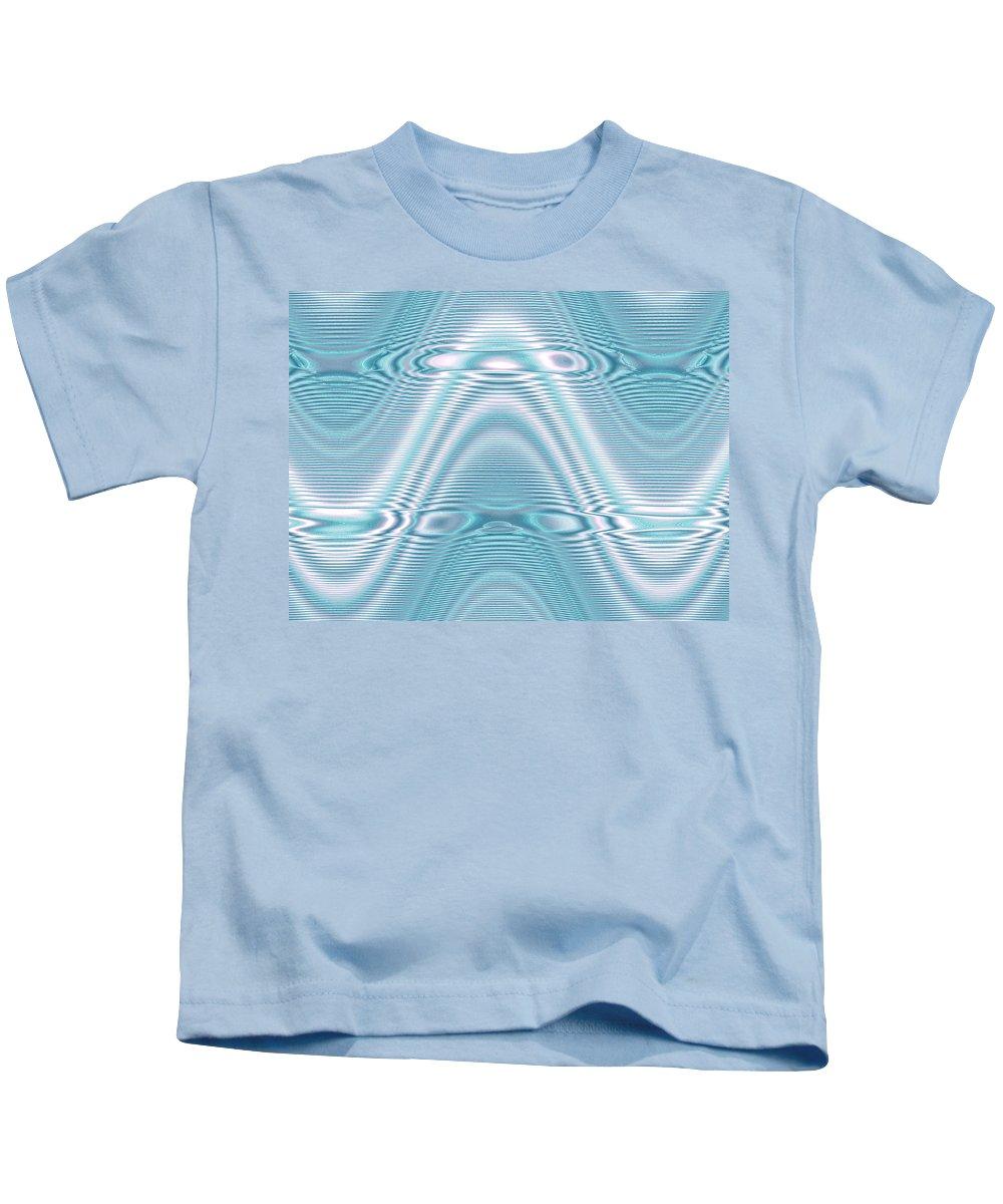 Moveonart! Global Gathering. -- Digital Abstract Art By Artist Jacob Kane -- Omnetra Kids T-Shirt featuring the digital art Moveonart Peacewavegreen by Jacob Kanduch