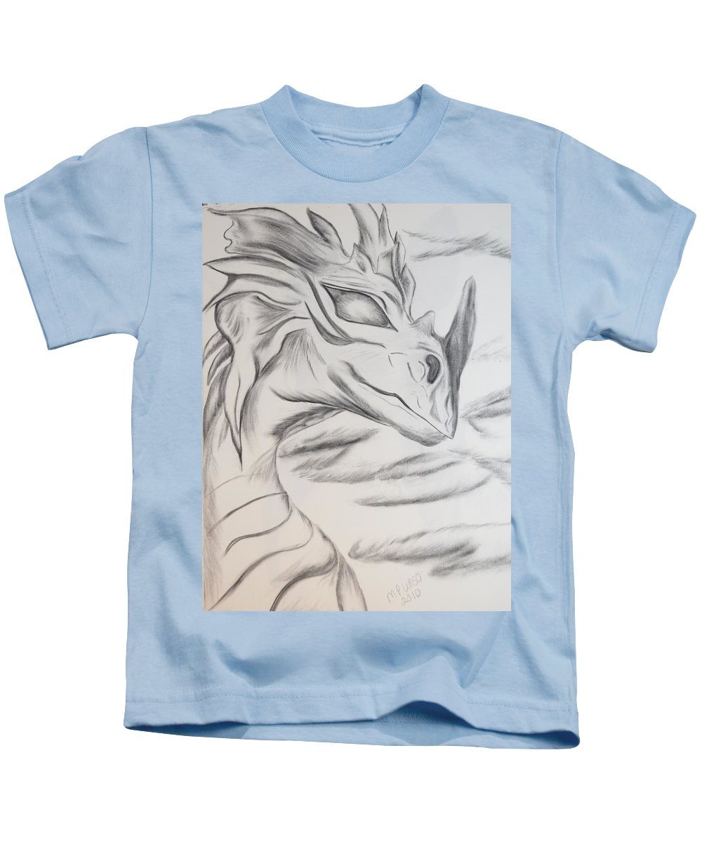 Dragon Kids T-Shirt featuring the drawing My Dragon by Maria Urso