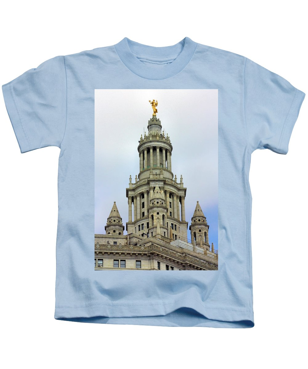 New York Kids T-Shirt featuring the photograph New York Municipal Building by Kristin Elmquist