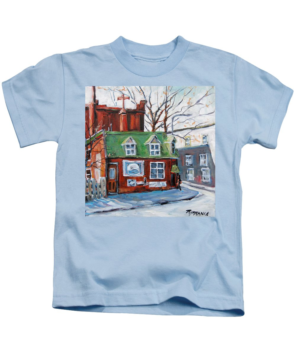 Art Kids T-Shirt featuring the painting Old Corner Store Montreal By Prankearts by Richard T Pranke