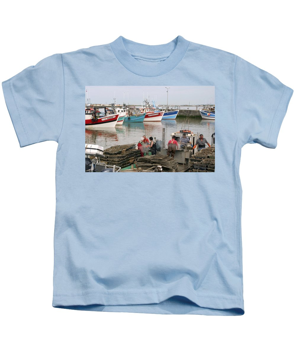 Oyster Harvest Kids T-Shirt featuring the photograph Oyster Harvest by Wes and Dotty Weber