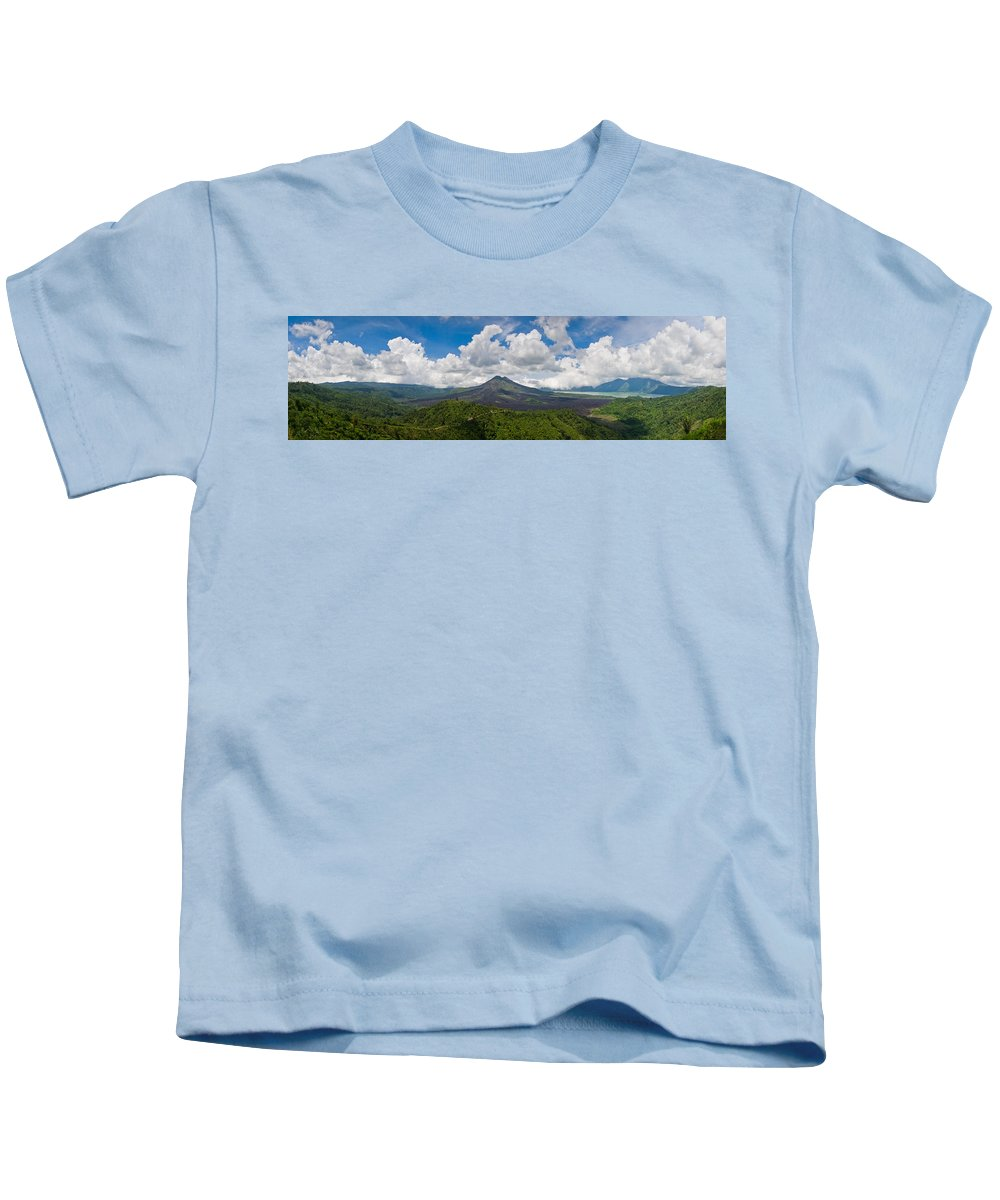 Ash Kids T-Shirt featuring the photograph Panoramic View Of A Volcano Mountain by U Schade