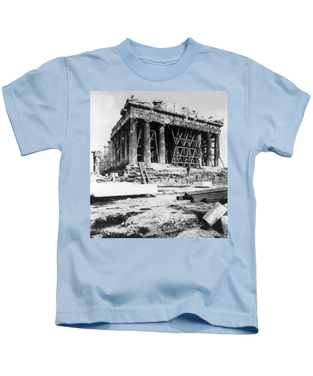 athens Greece Kids T-Shirt featuring the photograph Parthenon - C 1901 - Athens Greece by International Images