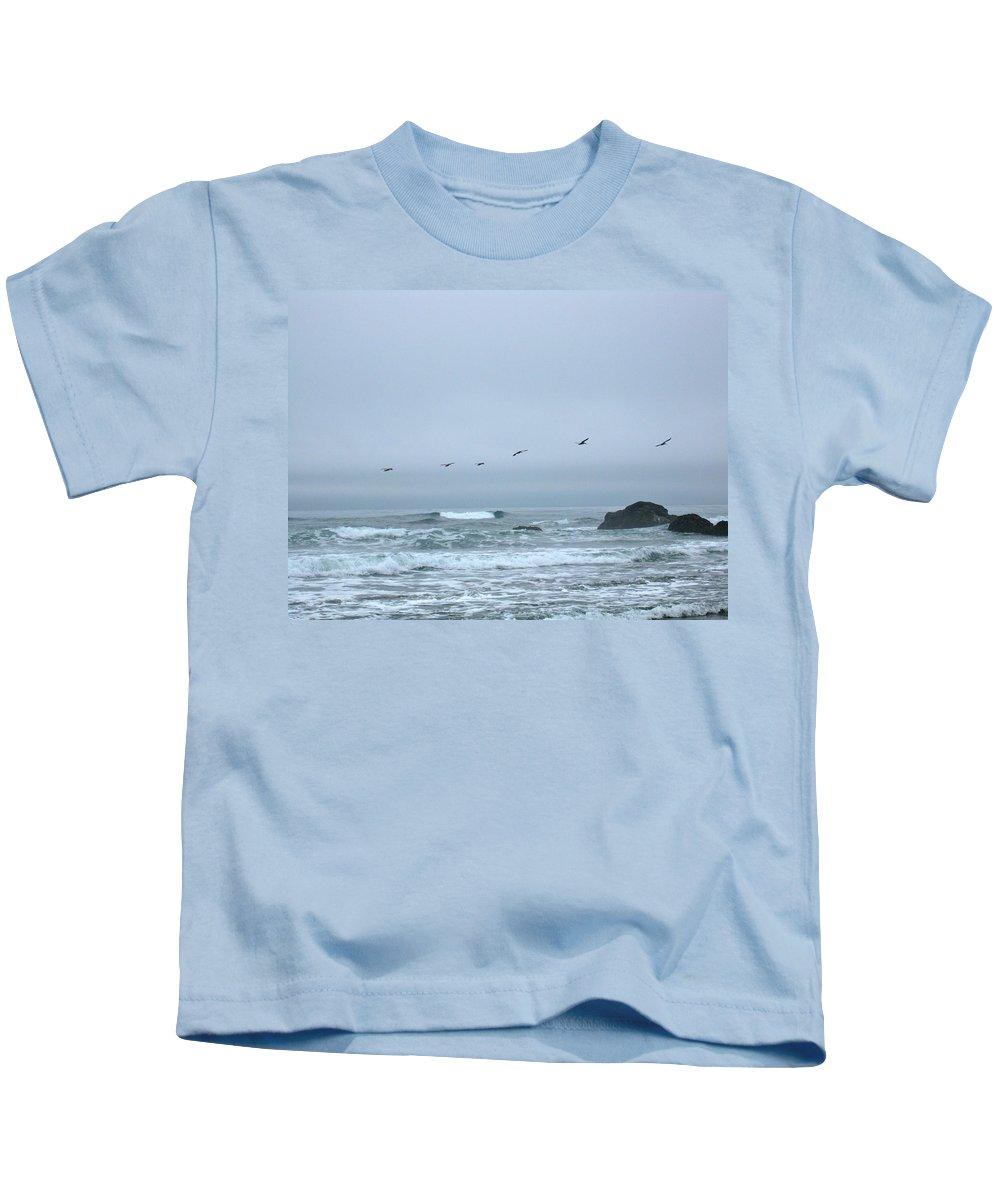Pelicans Kids T-Shirt featuring the photograph Pelican 2 Oregon Coast by Linda Hutchins