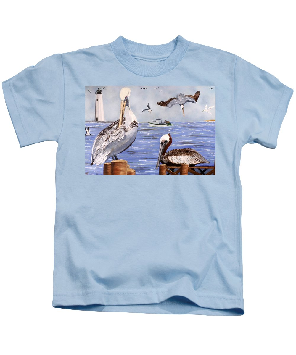 Pelican Kids T-Shirt featuring the painting Pelican Bay by Debbie LaFrance