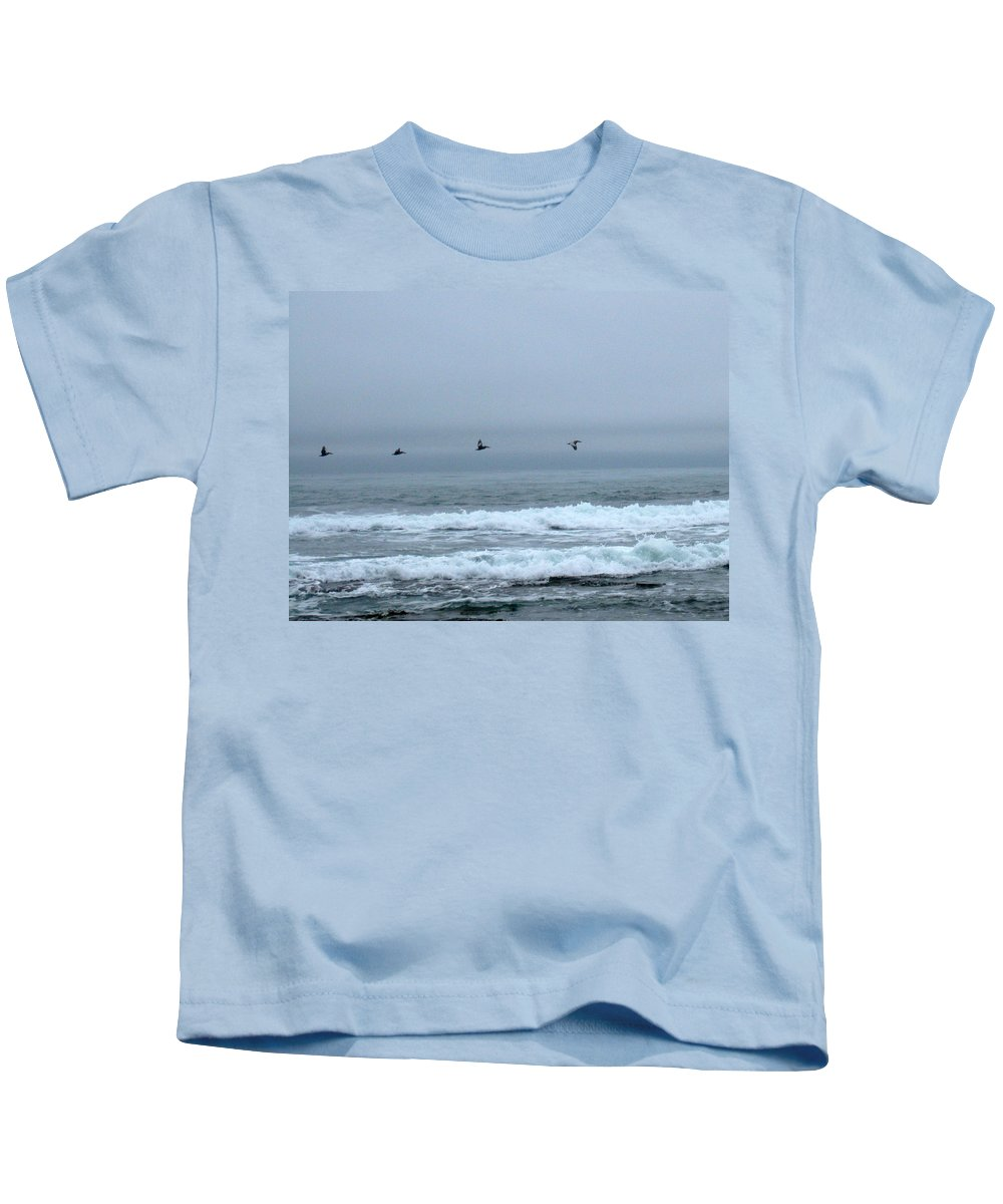 Pelicans Kids T-Shirt featuring the photograph Pelicans by Linda Hutchins