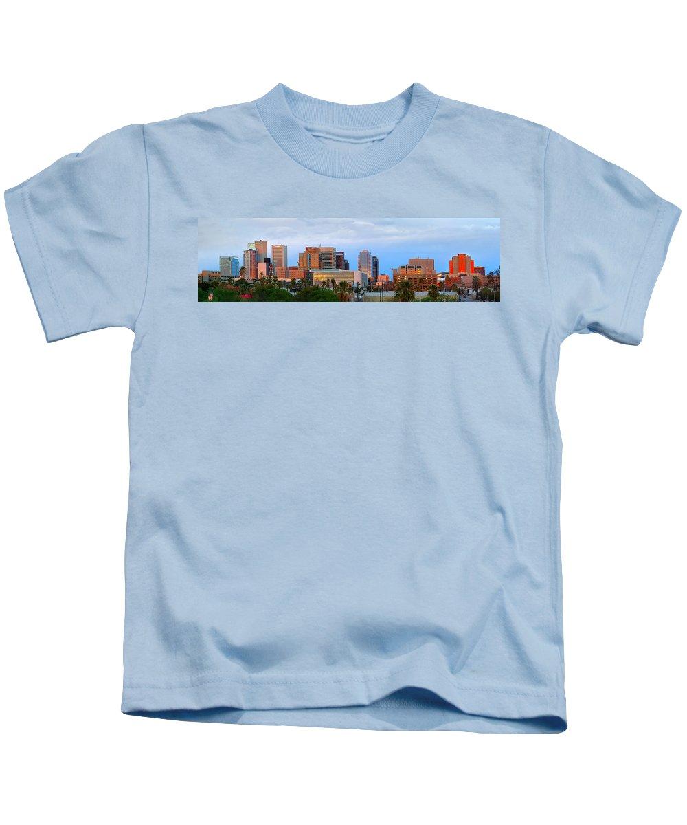 Phoenix Skyline At Dusk Kids T-Shirt featuring the photograph Phoenix Skyline At Dusk by Jon Holiday