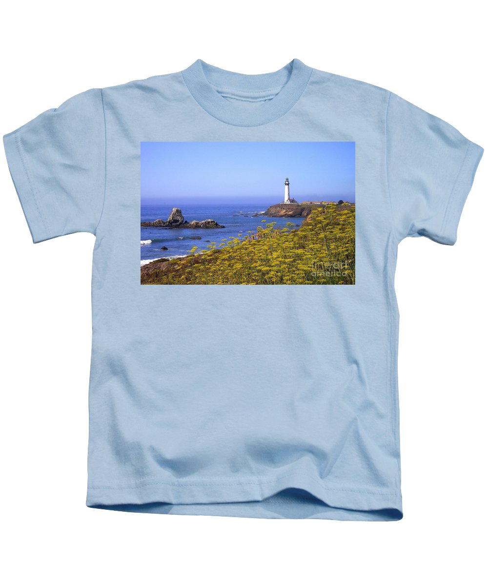 Pigeon Point Kids T-Shirt featuring the photograph Pigeon Point Lighthouse California Coast by Mike Nellums