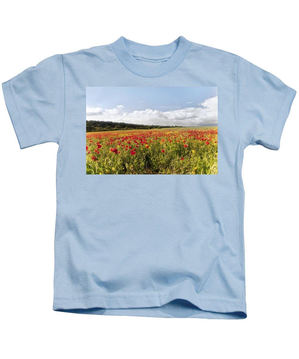 Poppy Field Kids T-Shirt featuring the photograph Poppy Field II by Vicki Field