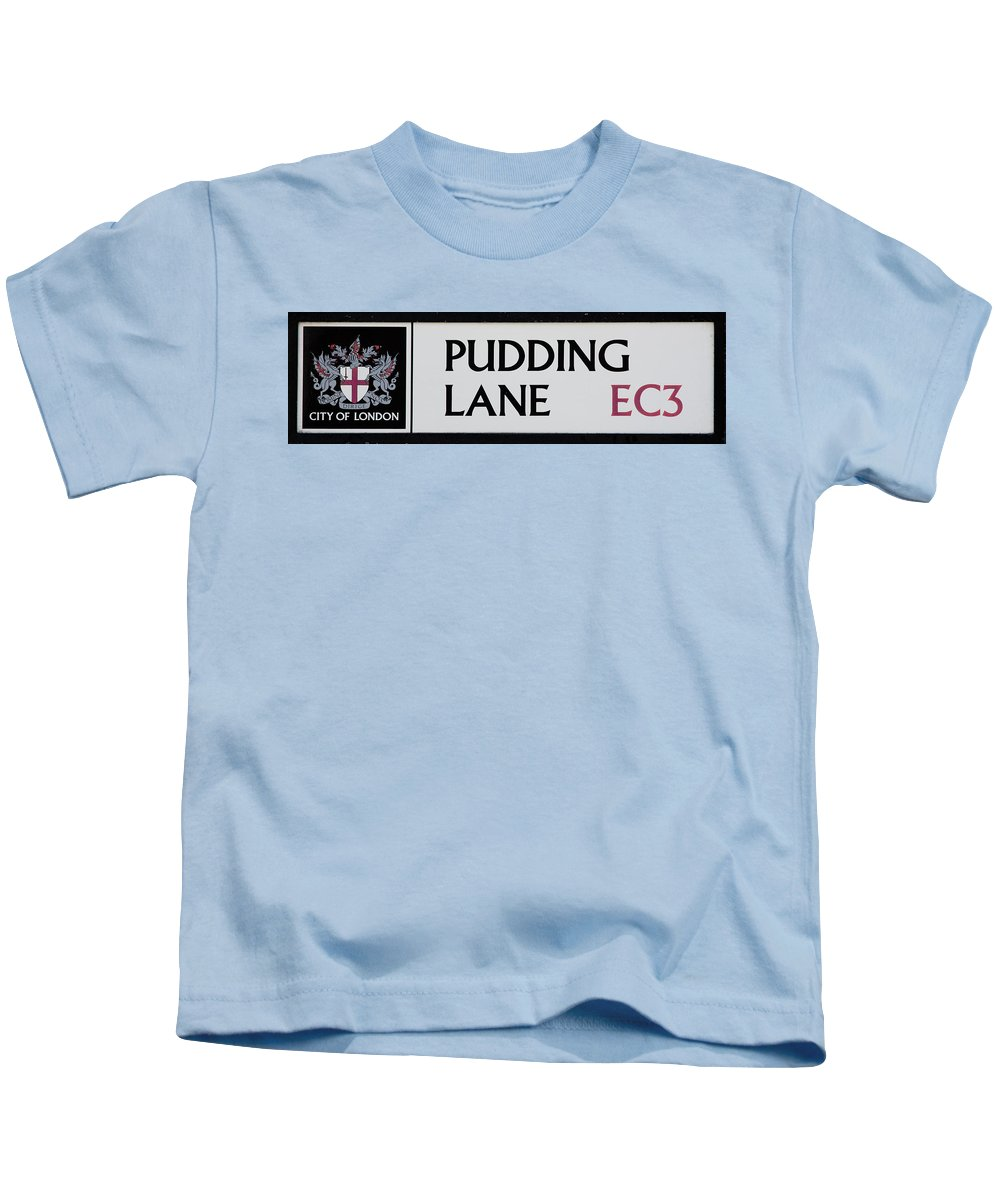 Sign Kids T-Shirt featuring the photograph Pudding Lane by Dawn OConnor