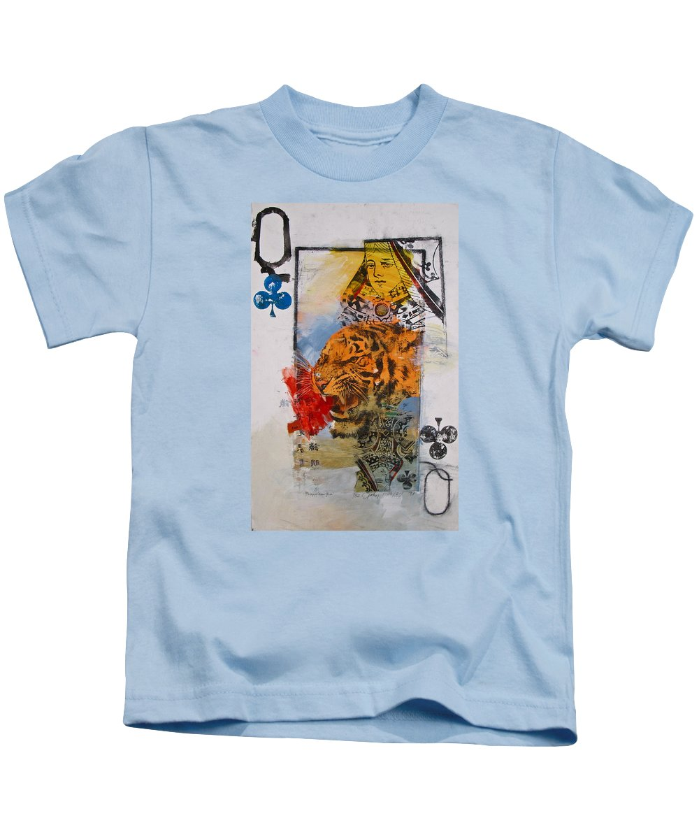 Abstract Painting Kids T-Shirt featuring the painting Queen Of Clubs 4-52 2nd Series by Cliff Spohn