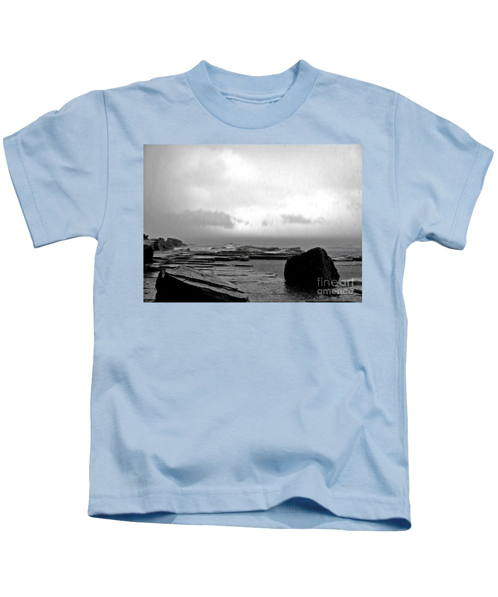 Photography Kids T-Shirt featuring the photograph Rain And Storm by Kaye Menner
