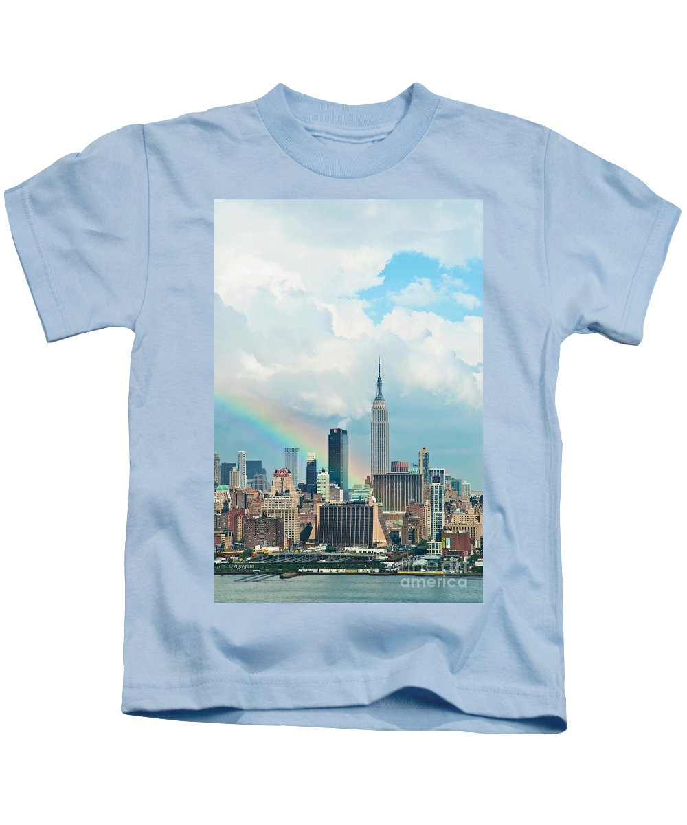 New York Photography Kids T-Shirt featuring the photograph Rainbow Over Manhattan by Regina Geoghan