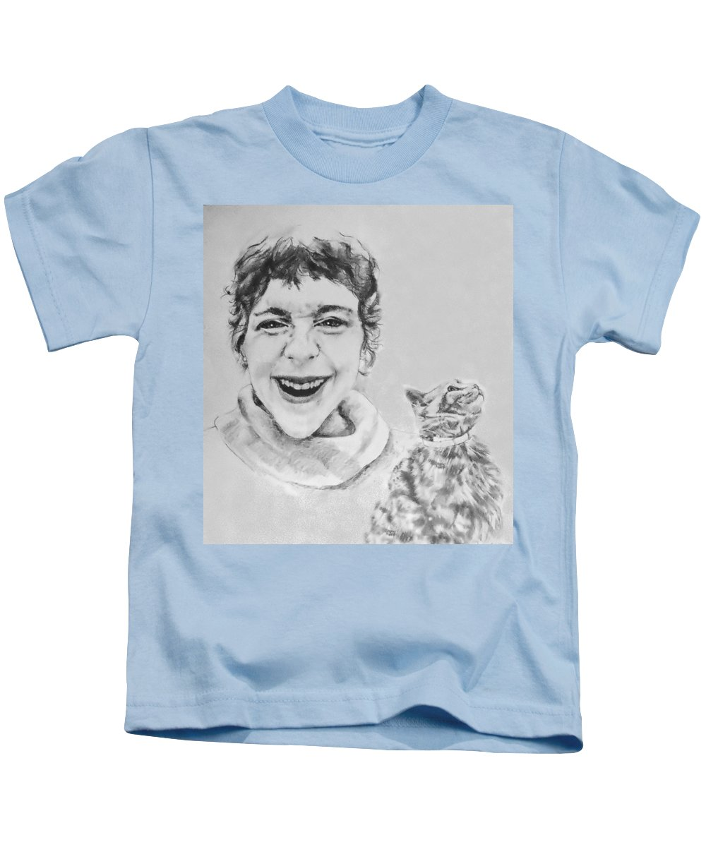 Portrait Kids T-Shirt featuring the drawing Randolph And Marmalade by Rory Sagner