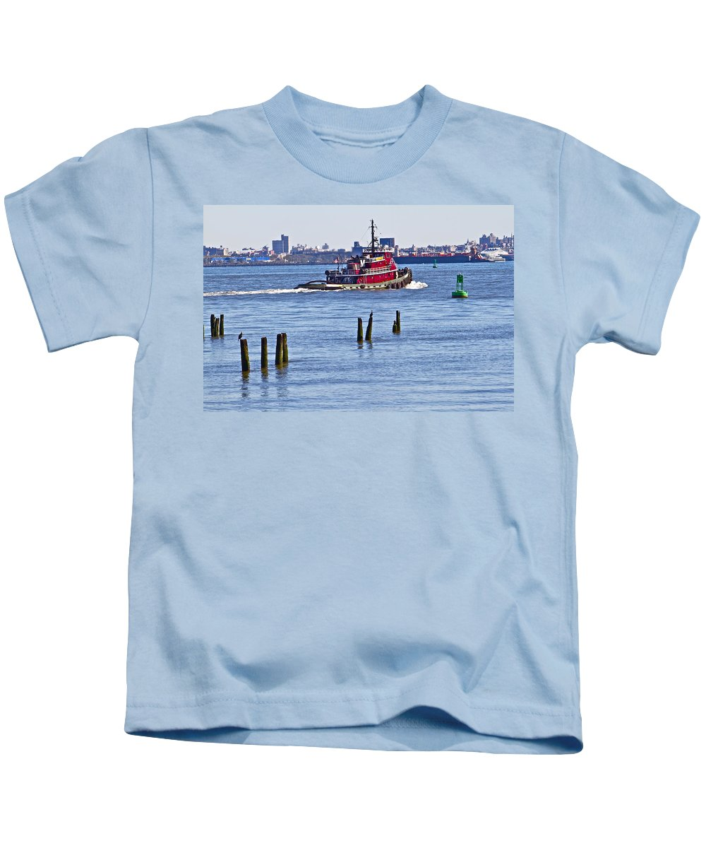 Tug Boat Red Staten Island Waterfront Kids T-Shirt featuring the photograph Red Tug One by Alice Gipson