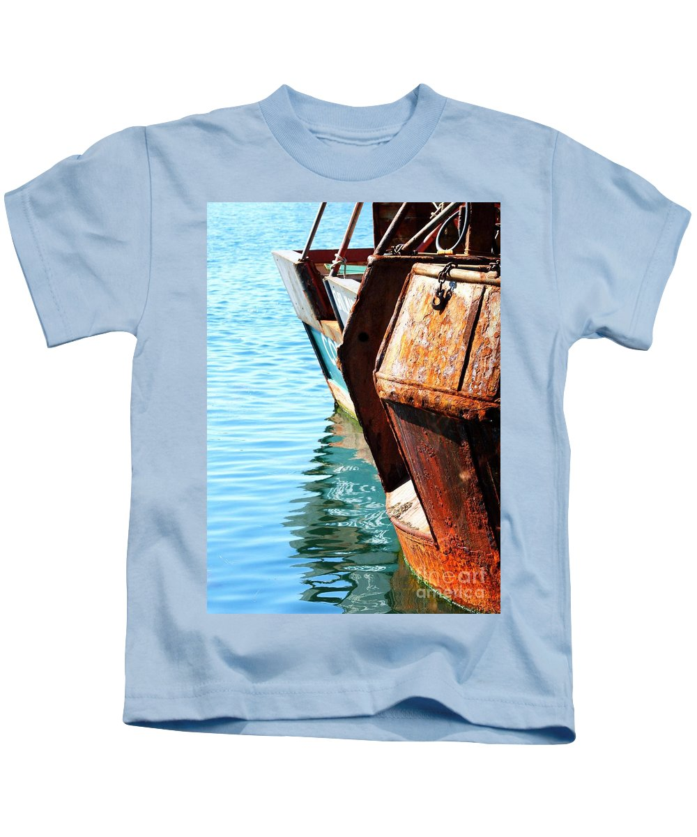Boats Kids T-Shirt featuring the photograph Reflections Of A Rust Bucket by Carol Groenen