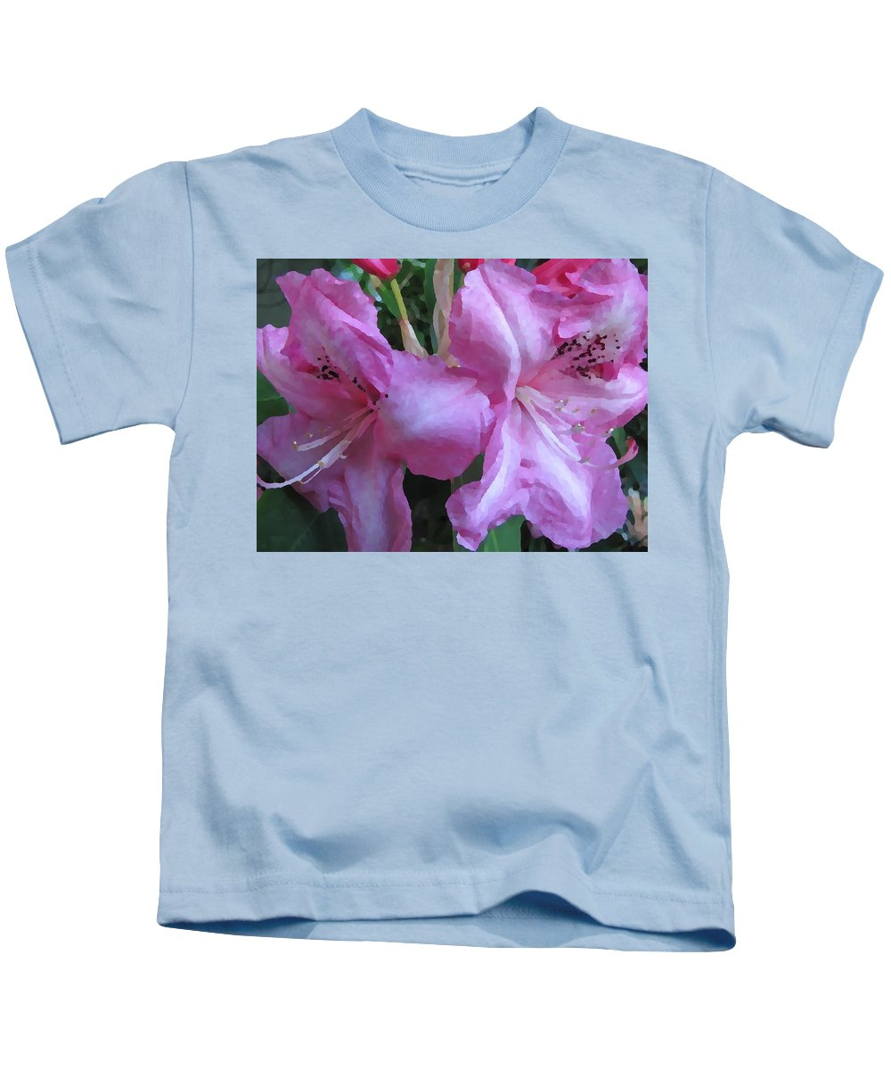 Rhododendron Kids T-Shirt featuring the digital art Rhody Beautiful by Tim Allen
