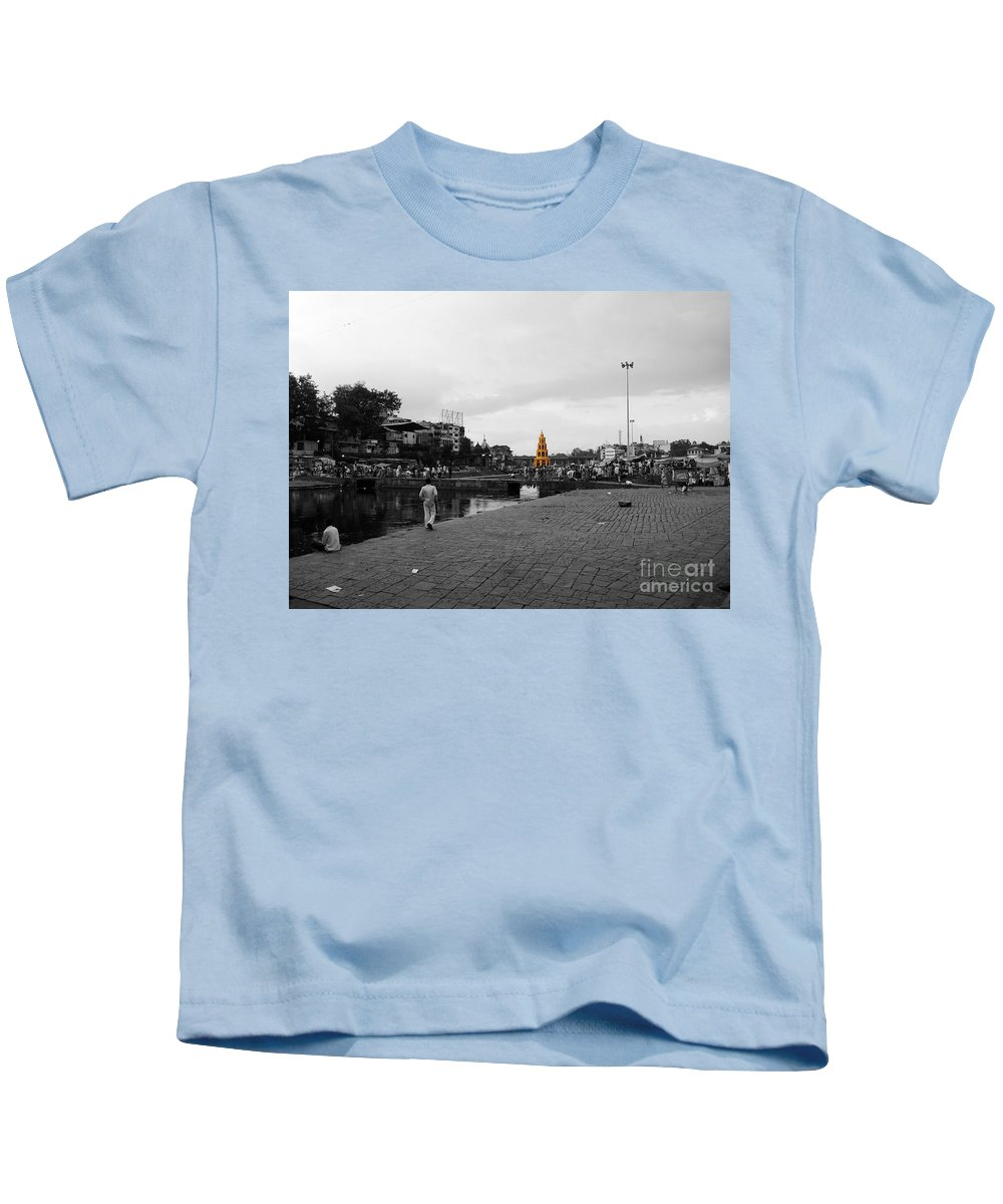 Village Kids T-Shirt featuring the pyrography River Ganga In India by Sumit Mehndiratta