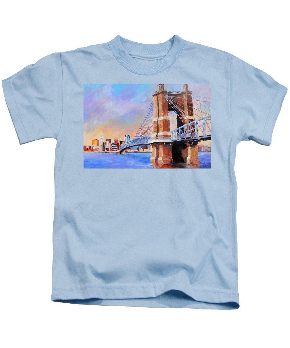 Bridge Kids T-Shirt featuring the painting Roebling Twilight by David Maynard