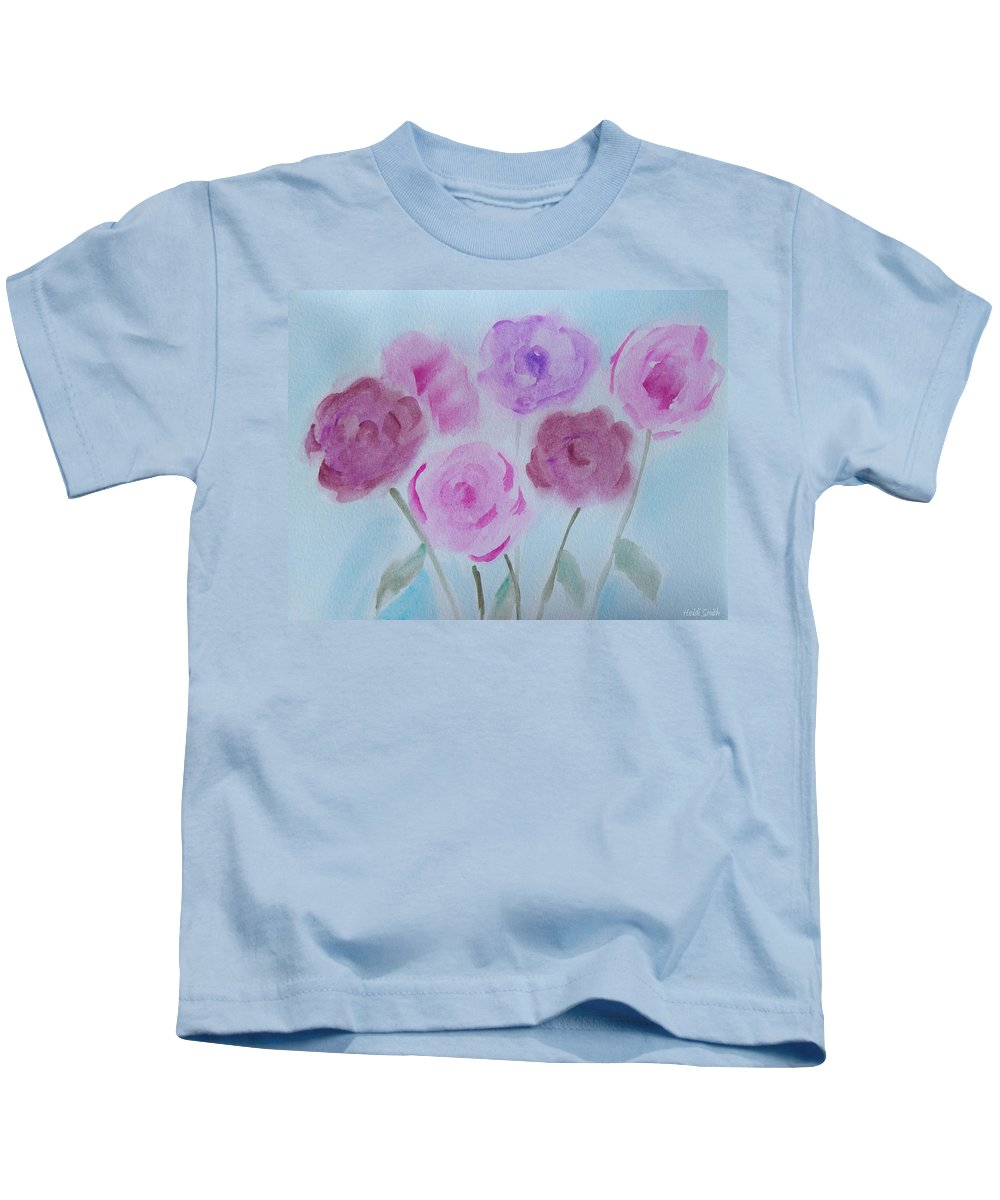 Watercolor Kids T-Shirt featuring the painting Roses by Heidi Smith