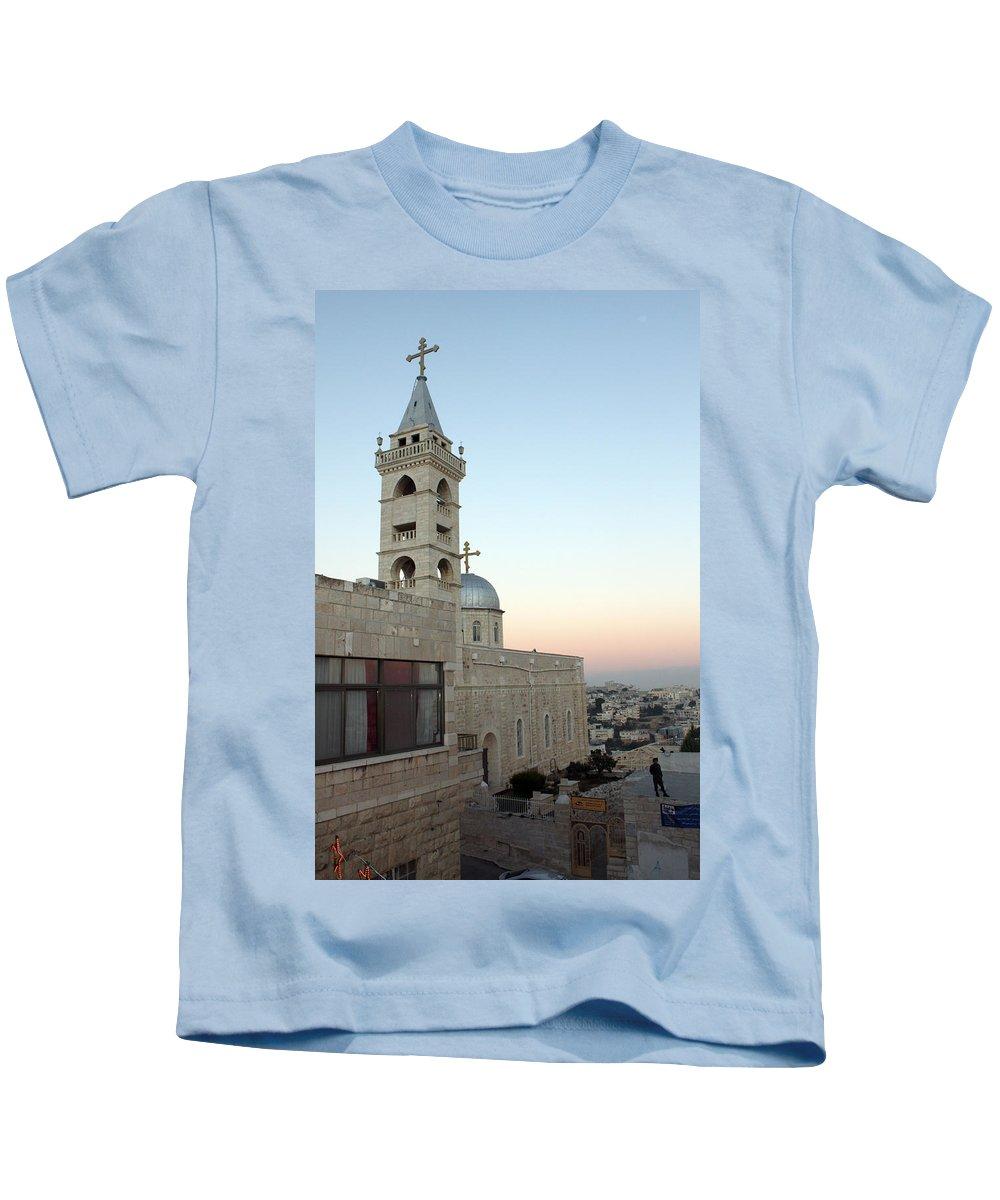 Saint Kids T-Shirt featuring the photograph Saint Nicholas Church Beit Jala by Munir Alawi
