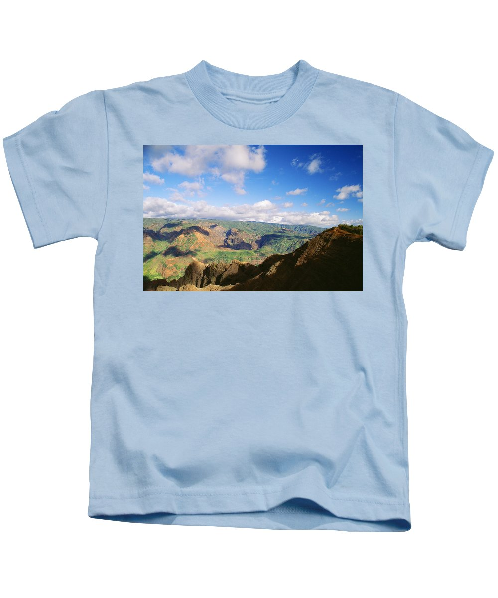 Above Kids T-Shirt featuring the photograph Scenic Waimea Canyon by Carl Shaneff - Printscapes
